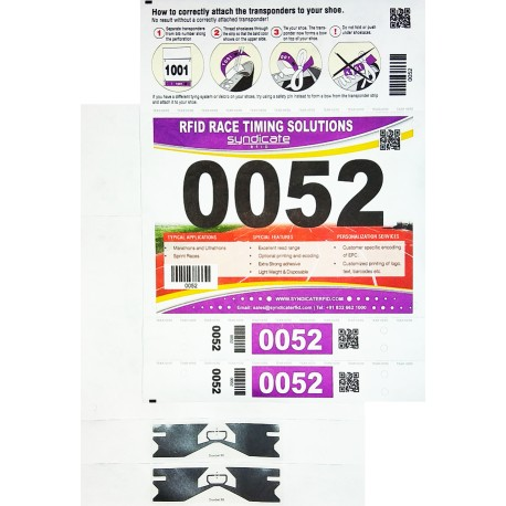 Number Bib with 2 Shoe Lace Tag Transponder